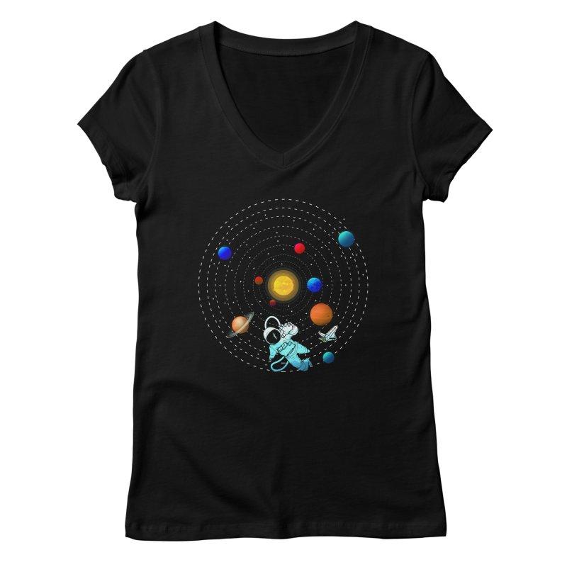 Space Travel Women's Regular V-Neck by clingcling's Artist Shop
