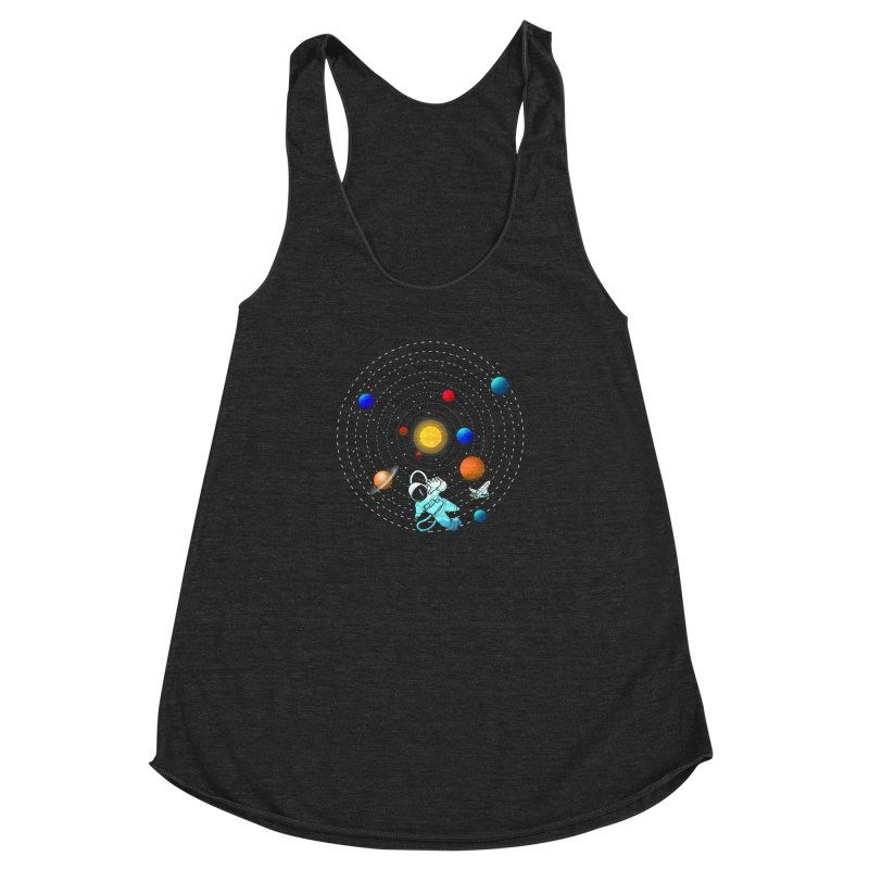 Space Travel Women's Racerback Triblend Tank by clingcling's Artist Shop