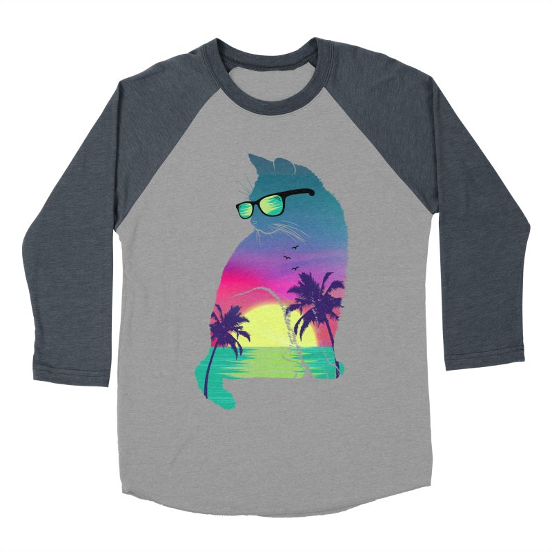 Summer Cat Men's Baseball Triblend Longsleeve T-Shirt by clingcling's Artist Shop