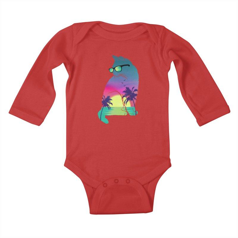Summer Cat Kids Baby Longsleeve Bodysuit by clingcling's Artist Shop