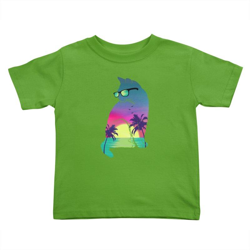 Summer Cat Kids Toddler T-Shirt by clingcling's Artist Shop