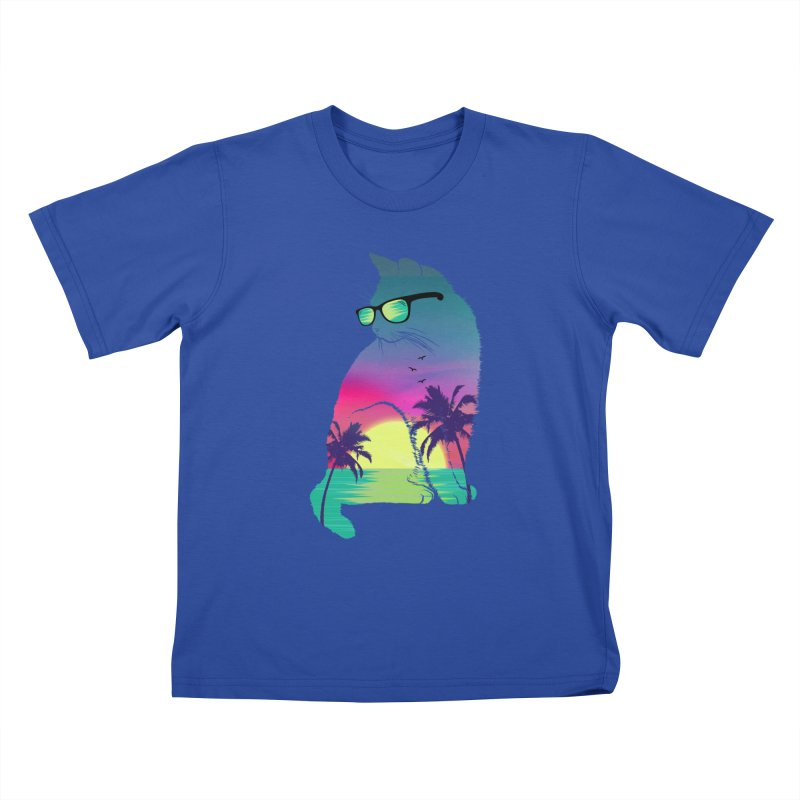 Summer Cat Kids T-Shirt by clingcling's Artist Shop