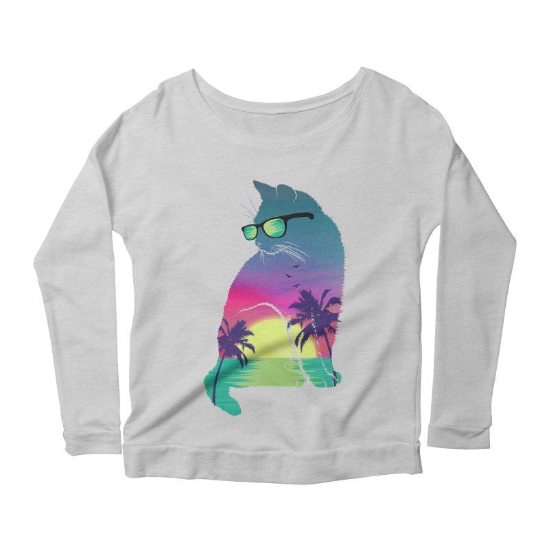 Summer Cat Women's Scoop Neck Longsleeve T-Shirt by clingcling's Artist Shop