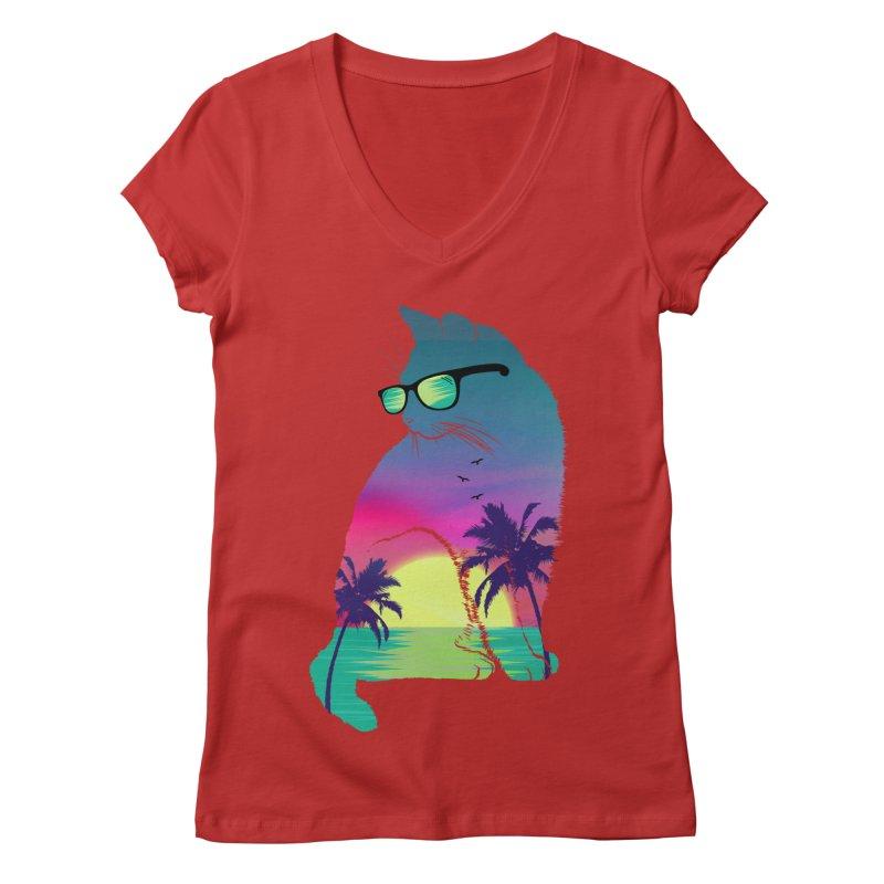 Summer Cat Women's Regular V-Neck by clingcling's Artist Shop