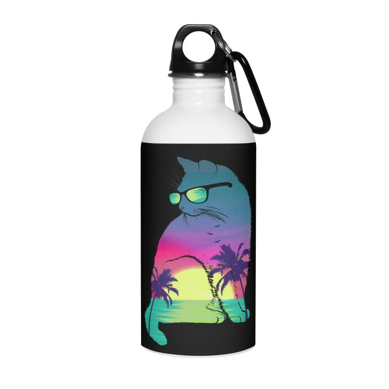 Summer Cat Accessories Water Bottle by clingcling's Artist Shop