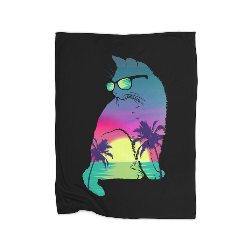 Summer Cat Home Fleece Blanket Blanket by clingcling's Artist Shop