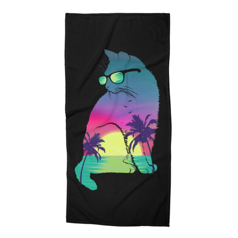 Summer Cat Accessories Beach Towel by clingcling's Artist Shop