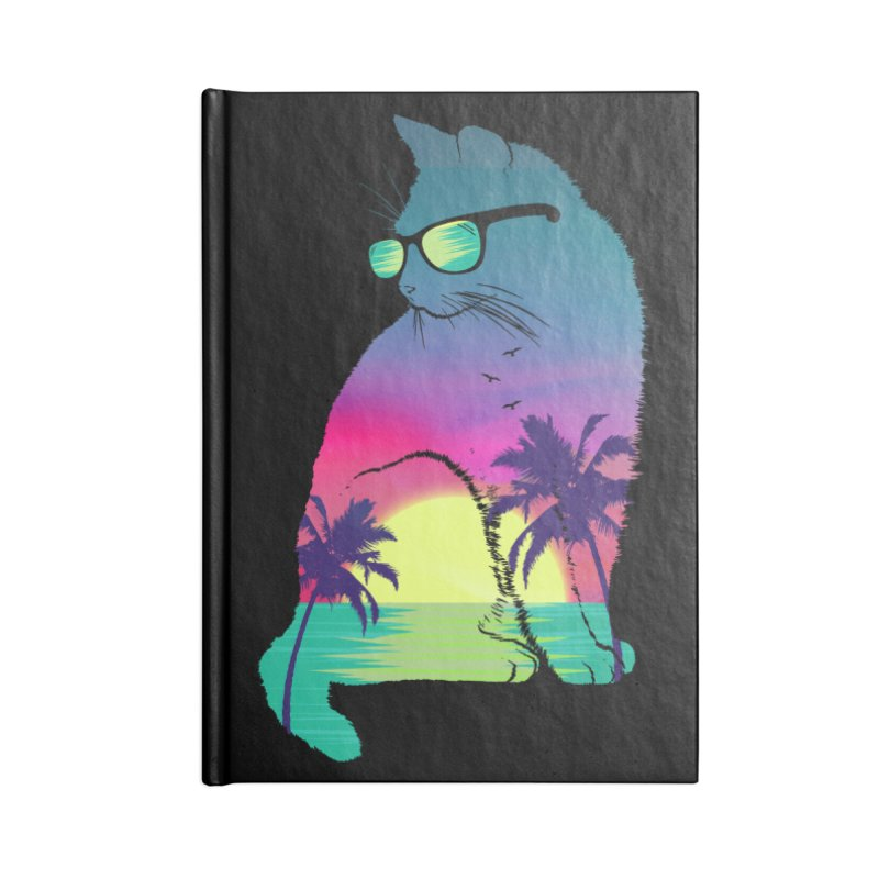 Summer Cat Accessories Lined Journal Notebook by clingcling's Artist Shop