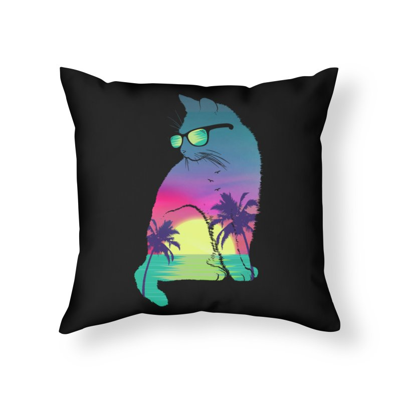 Summer Cat Home Throw Pillow by clingcling's Artist Shop