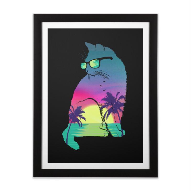 Summer Cat Home Framed Fine Art Print by clingcling's Artist Shop