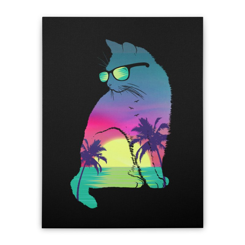 Summer Cat Home Stretched Canvas by clingcling's Artist Shop