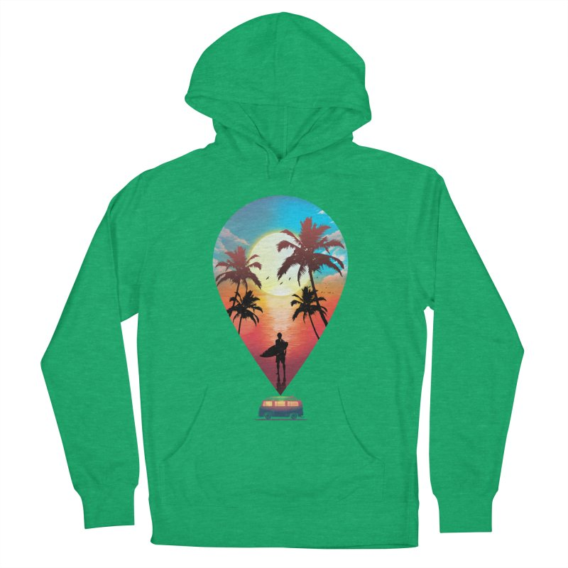 Summer Destination Men's French Terry Pullover Hoody by clingcling's Artist Shop