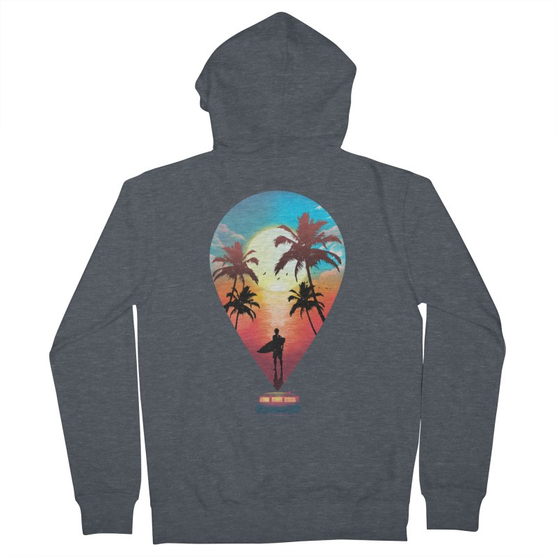 Summer Destination Women's French Terry Zip-Up Hoody by clingcling's Artist Shop