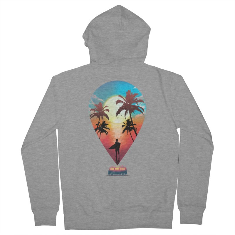 Summer Destination Men's French Terry Zip-Up Hoody by clingcling's Artist Shop