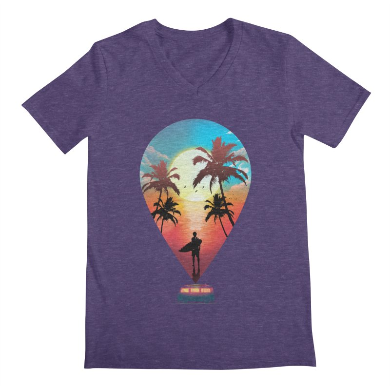 Summer Destination Men's Regular V-Neck by clingcling's Artist Shop