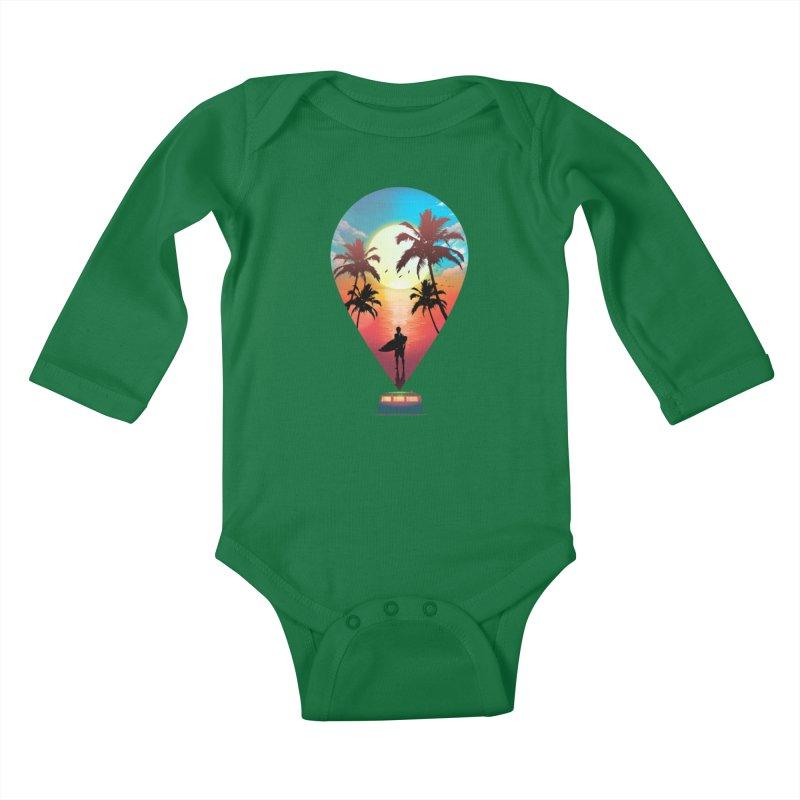 Summer Destination Kids Baby Longsleeve Bodysuit by clingcling's Artist Shop