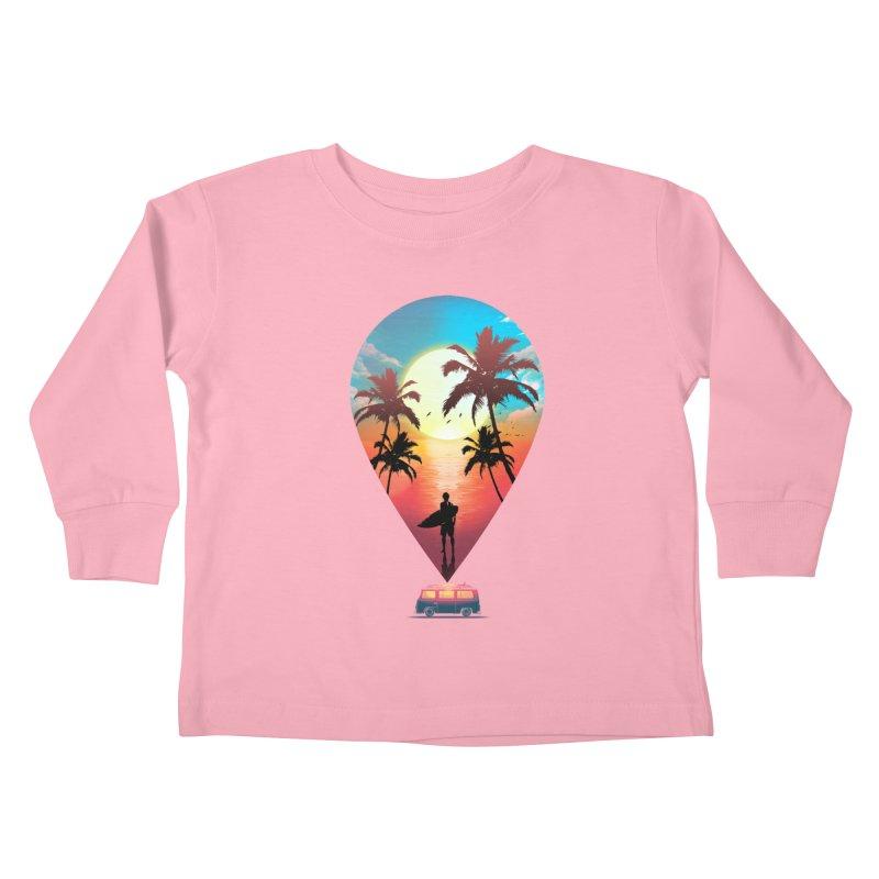 Summer Destination Kids Toddler Longsleeve T-Shirt by clingcling's Artist Shop