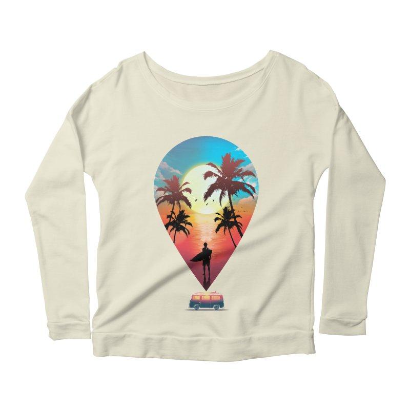 Summer Destination Women's Scoop Neck Longsleeve T-Shirt by clingcling's Artist Shop