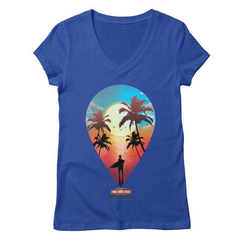 Summer Destination Women's Regular V-Neck by clingcling's Artist Shop