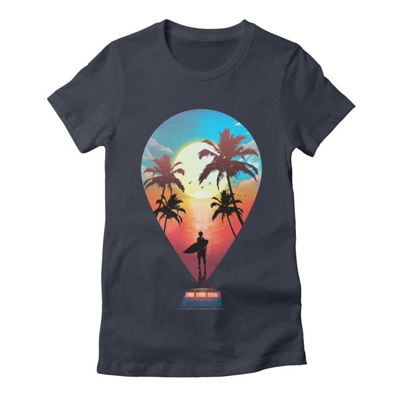Summer Destination Women's Fitted T-Shirt by clingcling's Artist Shop