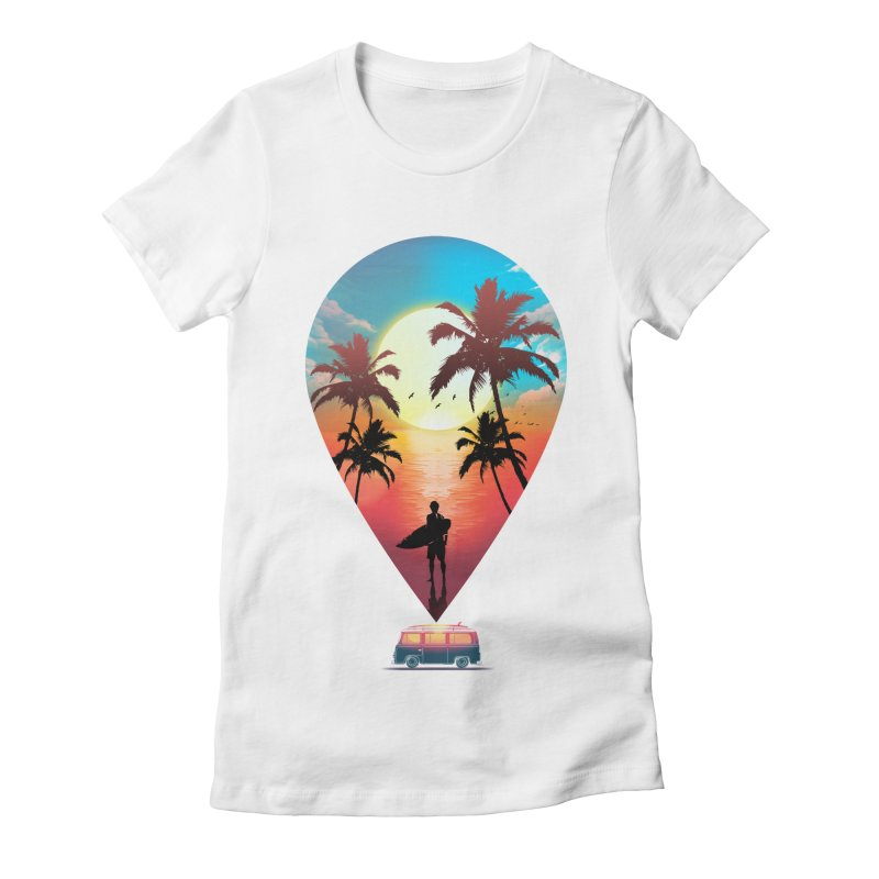 Summer Destination Women's Fitted T-Shirt by clingcling's Artist Shop