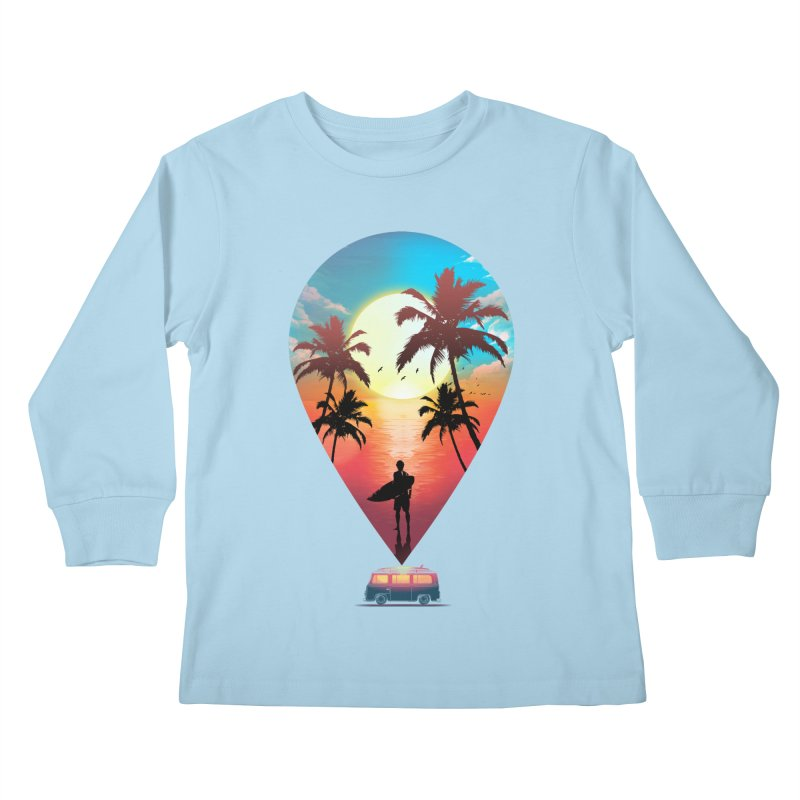 Summer Destination Kids Longsleeve T-Shirt by clingcling's Artist Shop