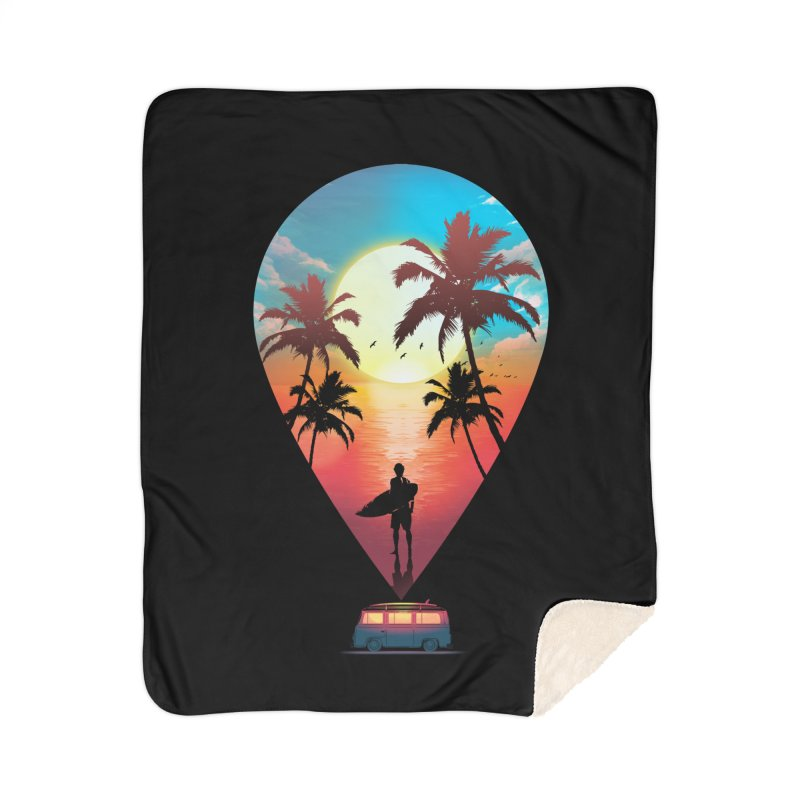 Summer Destination Home Sherpa Blanket Blanket by clingcling's Artist Shop