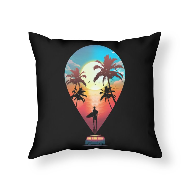 Summer Destination Home Throw Pillow by clingcling's Artist Shop