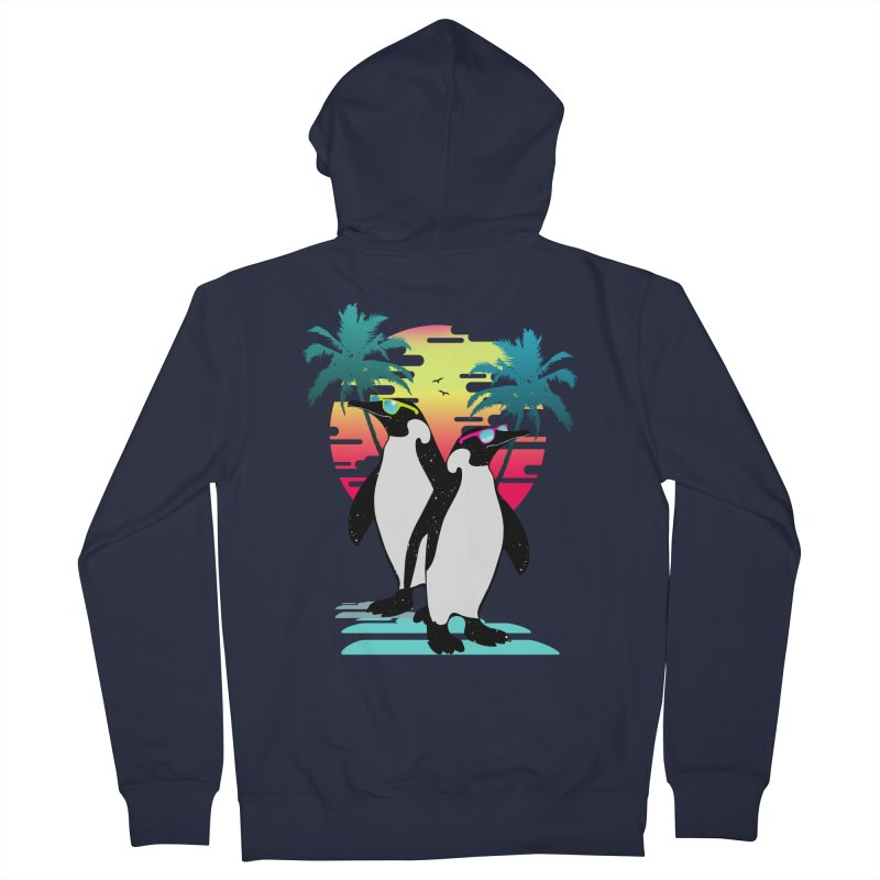 Summer Penguin Men's French Terry Zip-Up Hoody by clingcling's Artist Shop