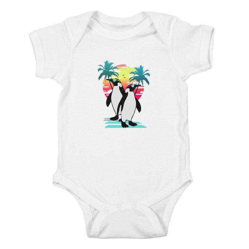 Summer Penguin Kids Baby Bodysuit by clingcling's Artist Shop