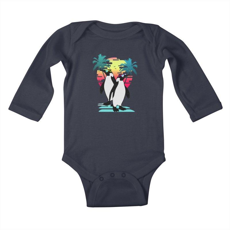 Summer Penguin Kids Baby Longsleeve Bodysuit by clingcling's Artist Shop