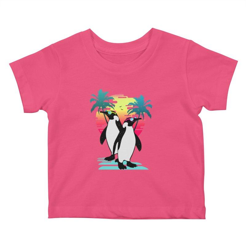Summer Penguin Kids Baby T-Shirt by clingcling's Artist Shop