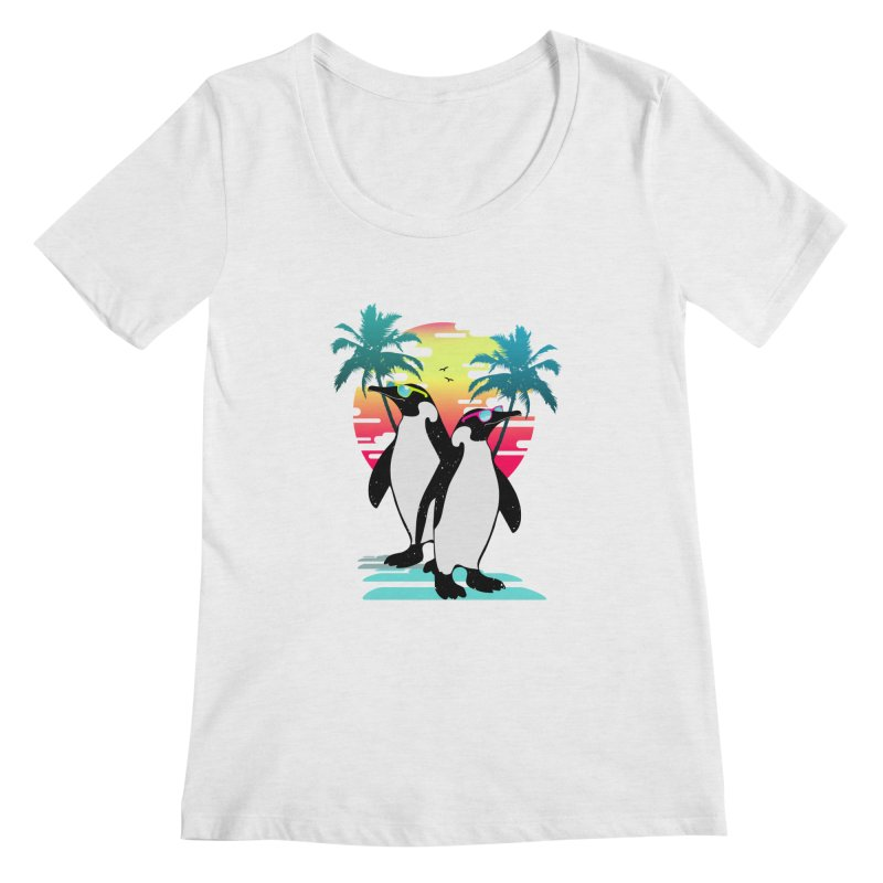 Summer Penguin Women's Regular Scoop Neck by clingcling's Artist Shop