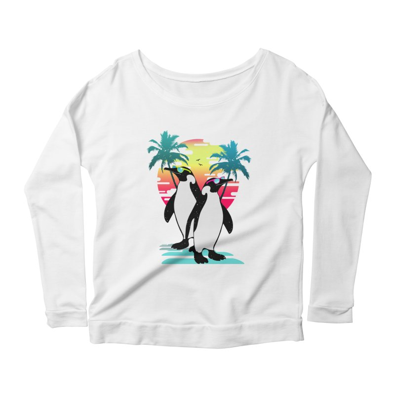 Summer Penguin Women's Scoop Neck Longsleeve T-Shirt by clingcling's Artist Shop