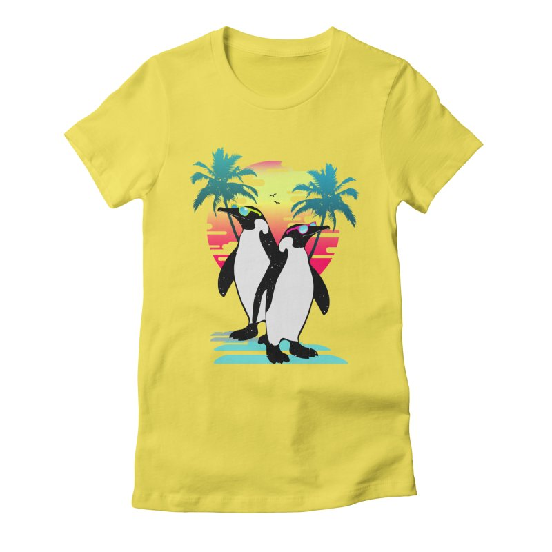 Summer Penguin Women's Fitted T-Shirt by clingcling's Artist Shop