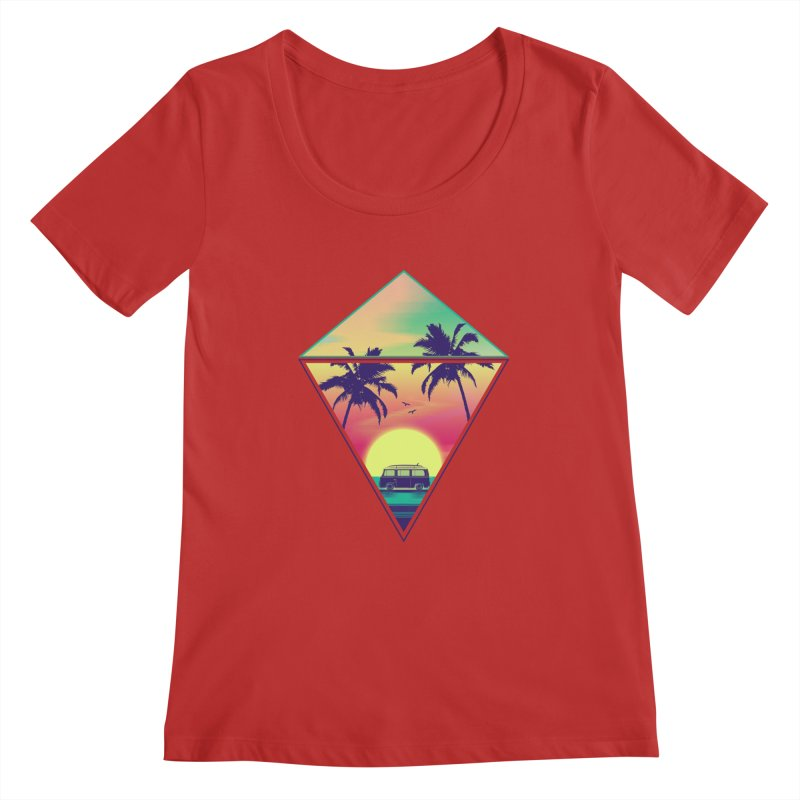 Summer Trip Women's Regular Scoop Neck by clingcling's Artist Shop