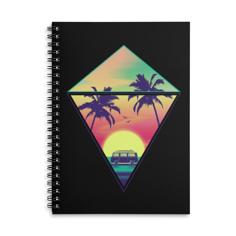 Summer Trip Accessories Lined Spiral Notebook by clingcling's Artist Shop