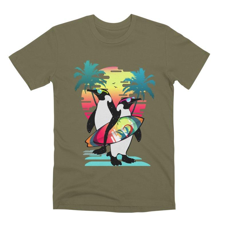 Surfer Penguin Men's Premium T-Shirt by clingcling's Artist Shop