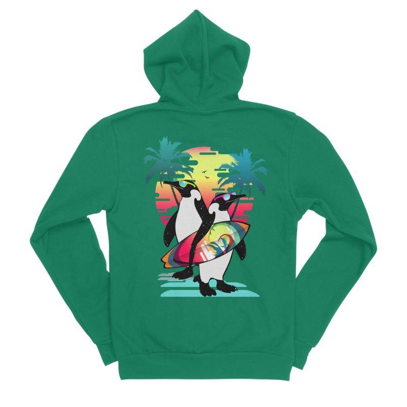 Surfer Penguin Men's Sponge Fleece Zip-Up Hoody by clingcling's Artist Shop