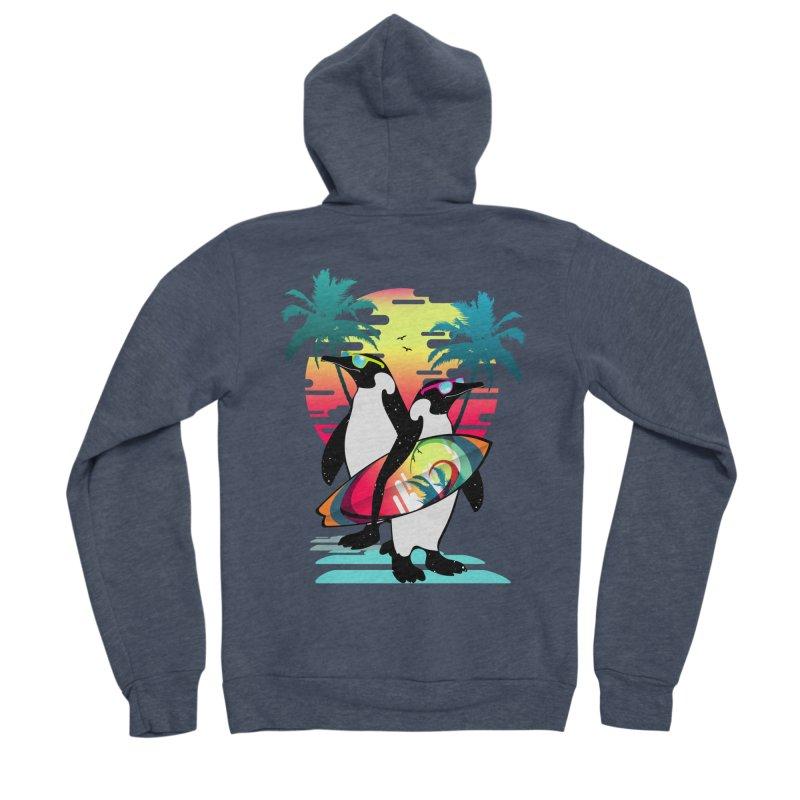 Surfer Penguin Women's Sponge Fleece Zip-Up Hoody by clingcling's Artist Shop