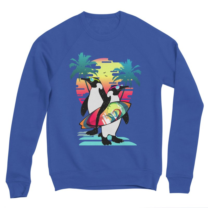 Surfer Penguin Women's Sponge Fleece Sweatshirt by clingcling's Artist Shop