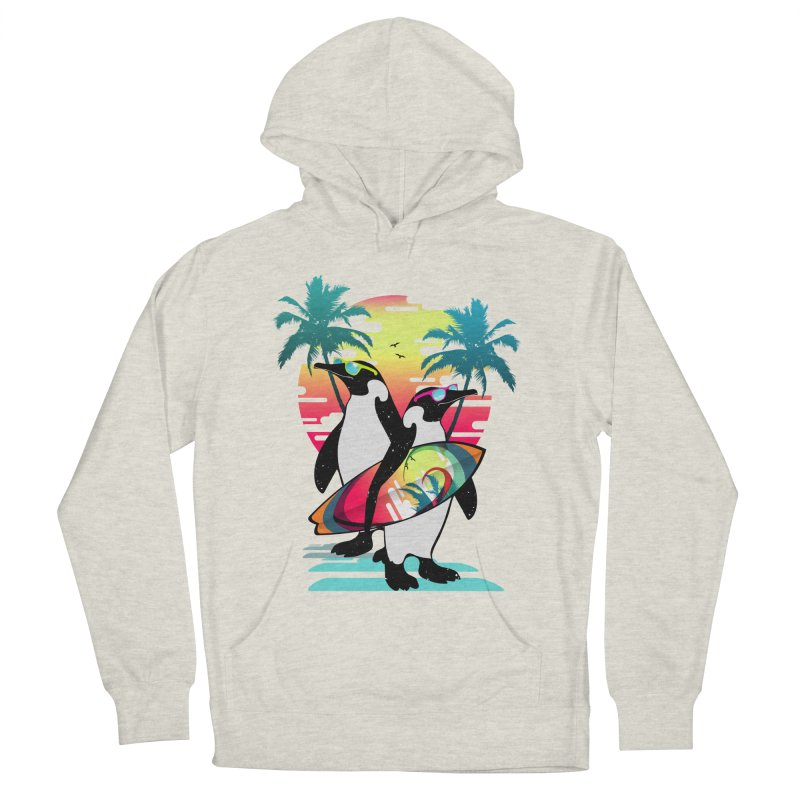 Surfer Penguin Women's French Terry Pullover Hoody by clingcling's Artist Shop