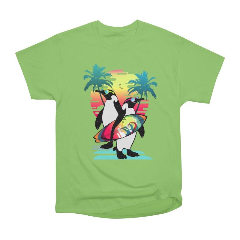 Surfer Penguin Women's Heavyweight Unisex T-Shirt by clingcling's Artist Shop