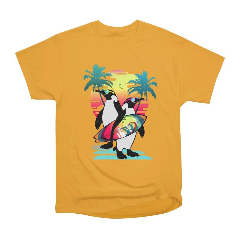 Surfer Penguin Men's Heavyweight T-Shirt by clingcling's Artist Shop