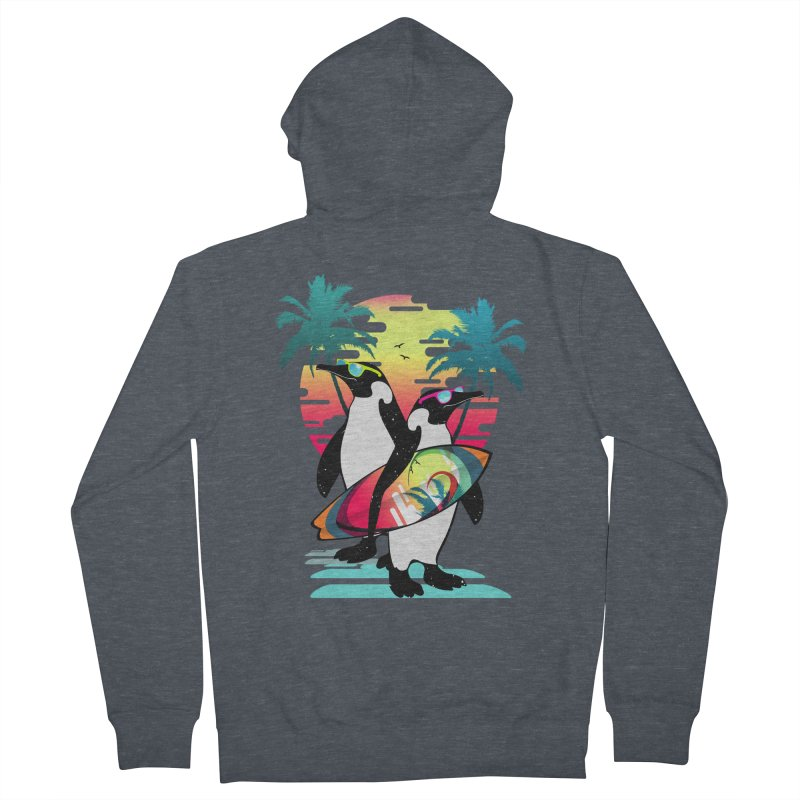Surfer Penguin Men's French Terry Zip-Up Hoody by clingcling's Artist Shop