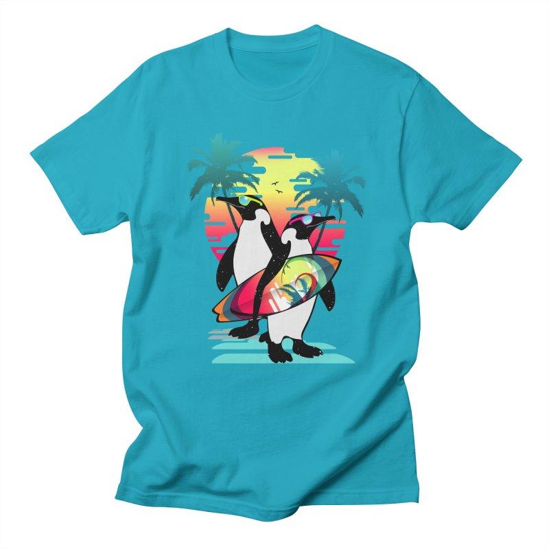 Surfer Penguin Men's Regular T-Shirt by clingcling's Artist Shop