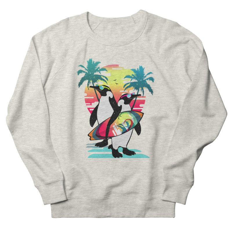 Surfer Penguin Women's French Terry Sweatshirt by clingcling's Artist Shop