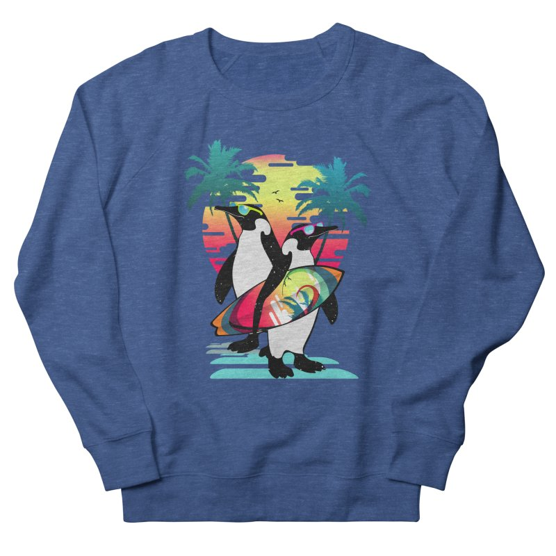 Surfer Penguin Men's French Terry Sweatshirt by clingcling's Artist Shop
