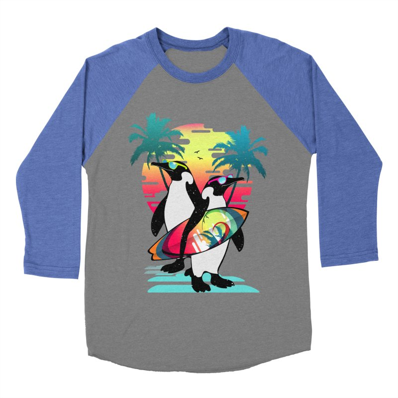 Surfer Penguin Women's Baseball Triblend Longsleeve T-Shirt by clingcling's Artist Shop