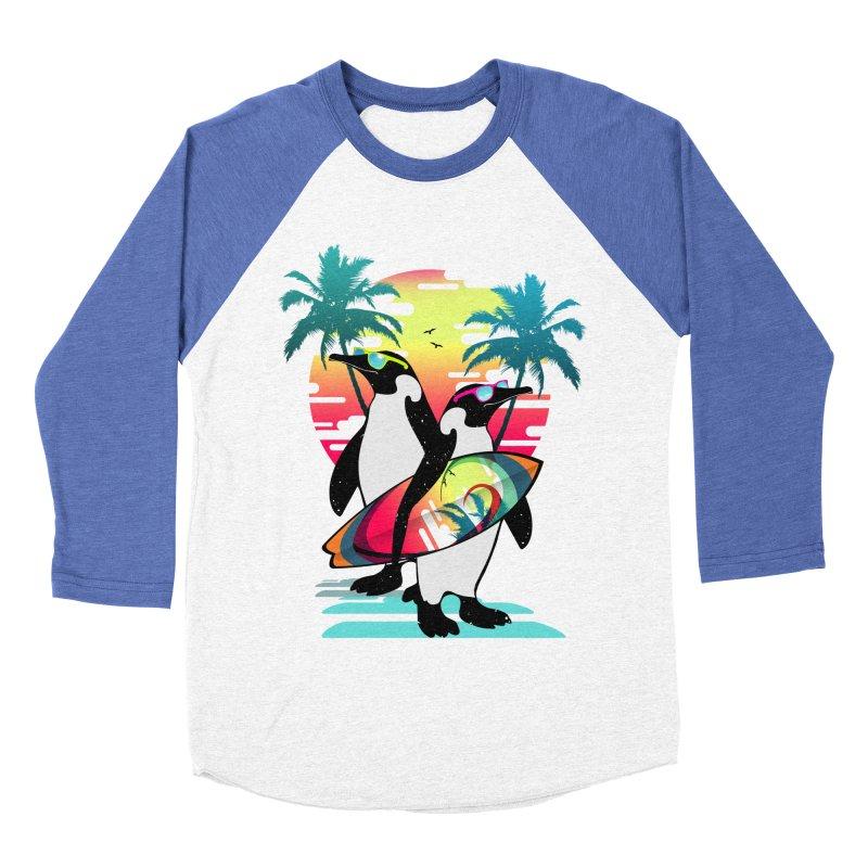 Surfer Penguin Men's Baseball Triblend Longsleeve T-Shirt by clingcling's Artist Shop